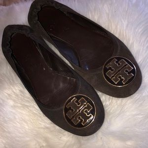 Tory Burch Reva chocolate brown suede flats 10.5